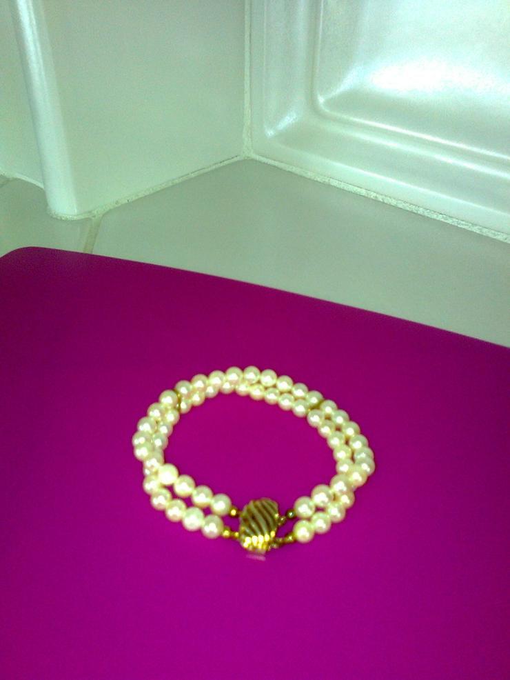 Perlen-Armband mit Goldverschluss - 2-reihig - Armbänder & Armreifen - Bild 1