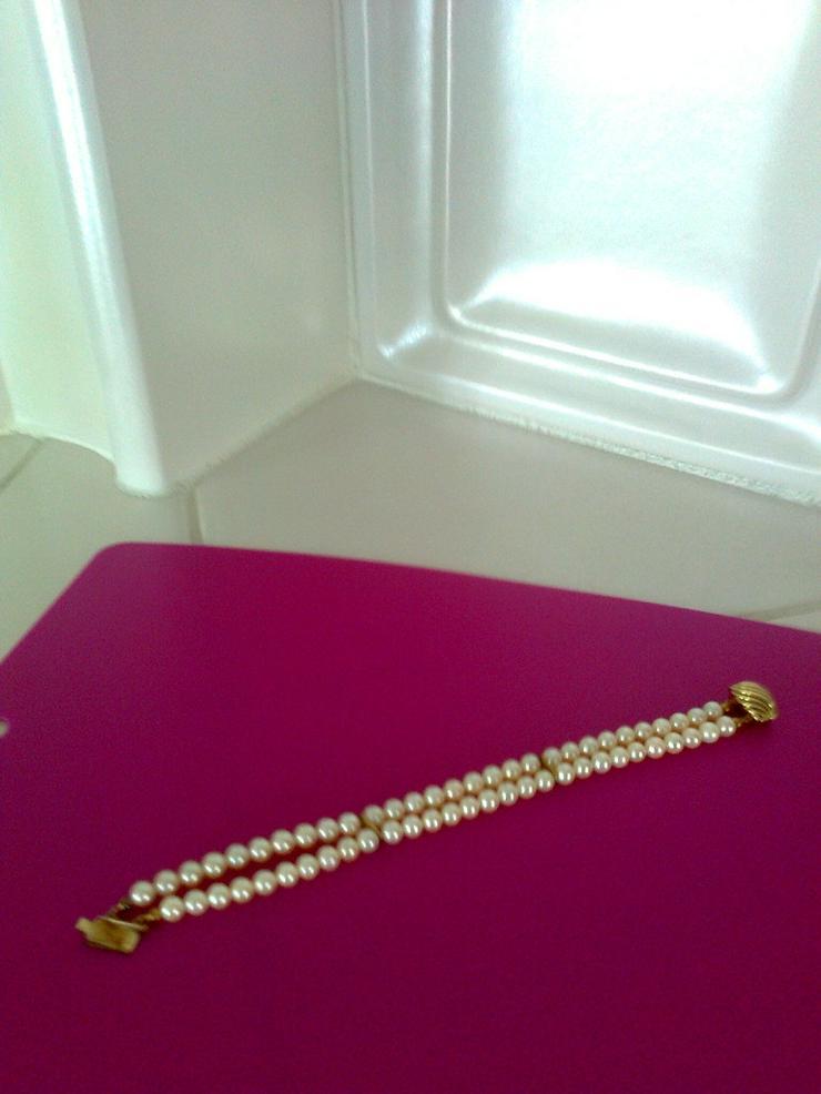 Bild 2: Perlen-Armband mit Goldverschluss - 2-reihig
