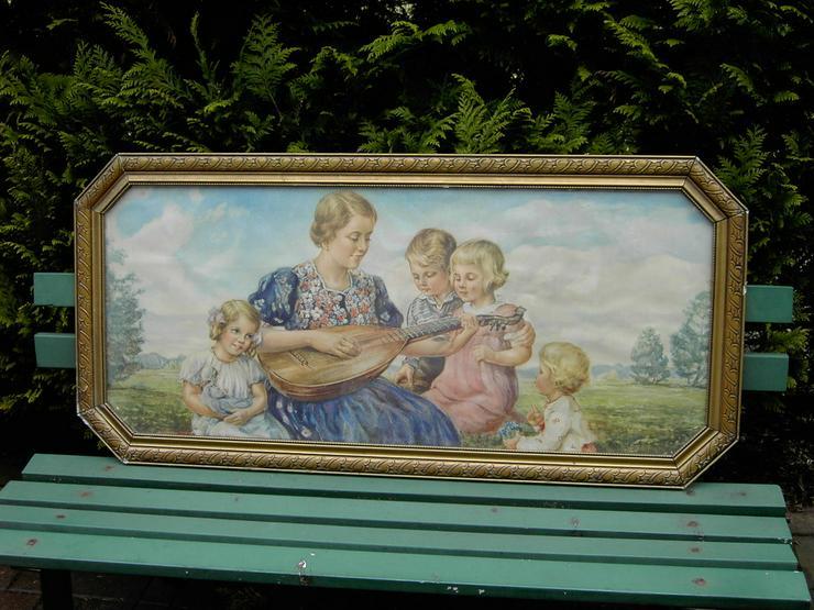 Gemälde ca. 127x60cm Holzrahmen Glasscheibe
