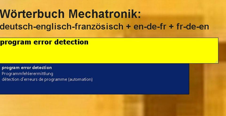 Technik-Woerterbuch: franzoesisch uebersetzen