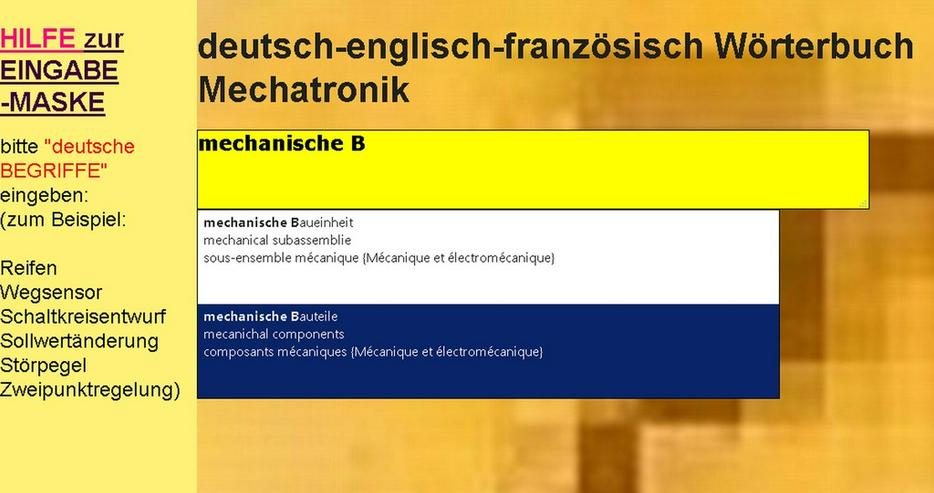 Bild 4: vocabulaire automation + technique