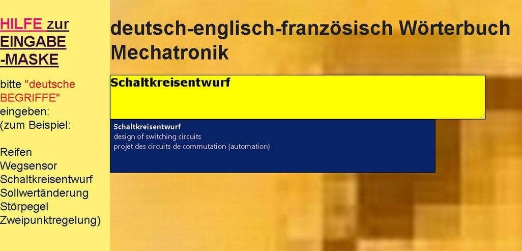 Bild 5: vocabulaire automation + technique