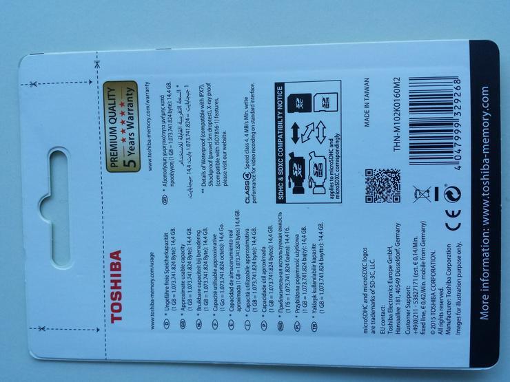 Bild 2: 16GB Toshiba Micro SD SDHC Speicherkarte