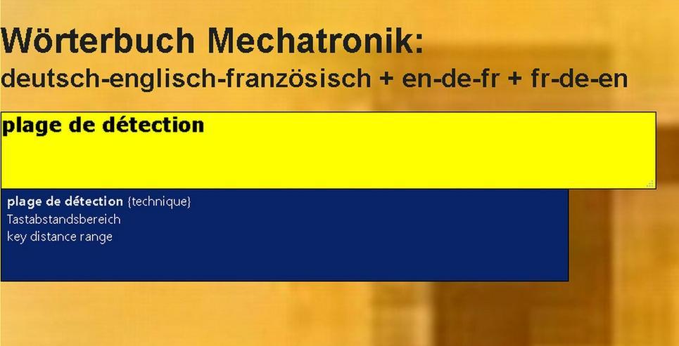 Bild 6: Begriffe-Uebersetzer Englisch + Franzoesisch