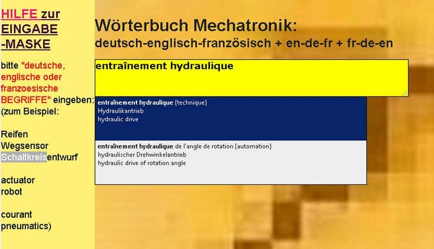Bild 2: Begriffe-Uebersetzer Englisch + Franzoesisch