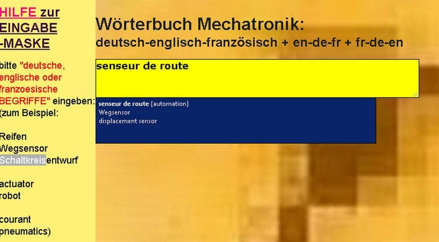 Begriffe-Uebersetzer Englisch + Franzoesisch