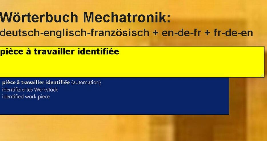 Bild 3: Mechanik/ Metalltechnik-Begriffe uebersetzen