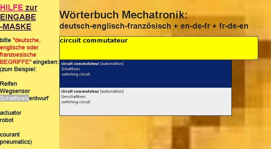 Bild 2: Mechanik/ Metalltechnik-Begriffe uebersetzen