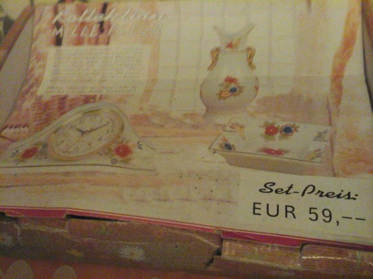 Dekoset bestehend aus Vase, Uhr, Aschenbecher
