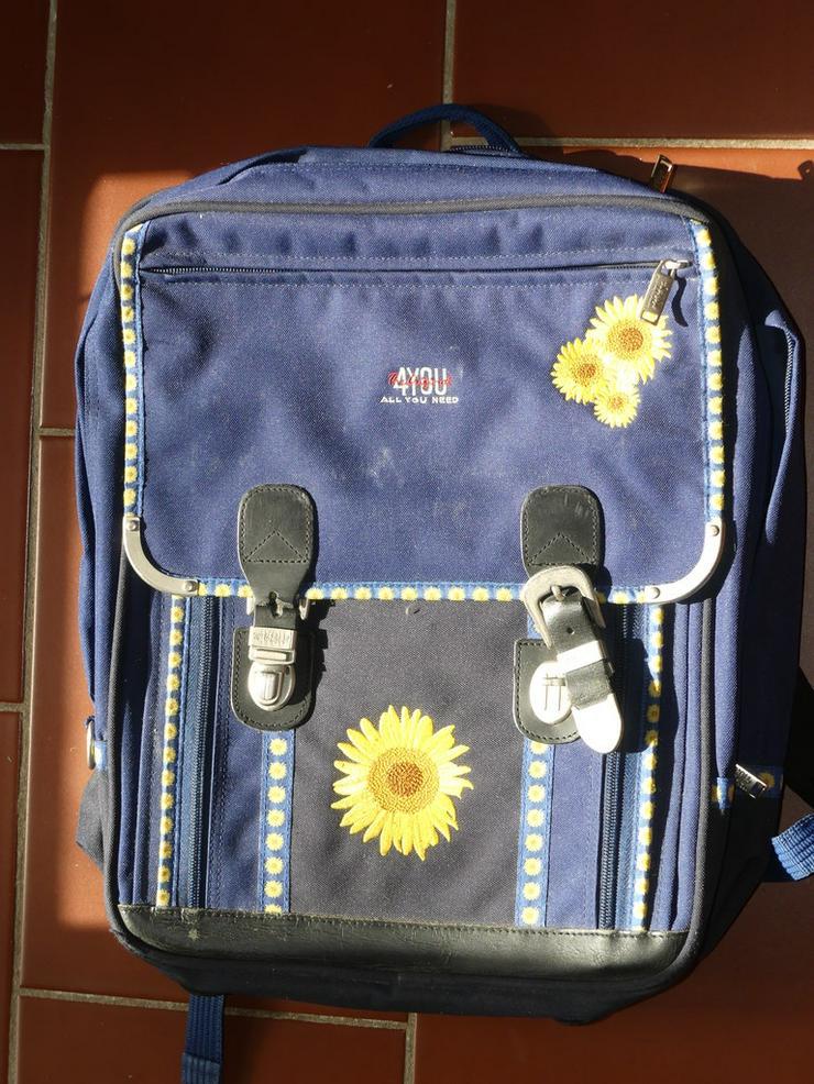 4you Schulranzen blau mit Sonnenblumen