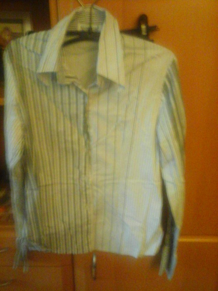 grau/weiß gestreifte Bluse fällt sehr klein aus - Größen 48-50 / XL - Bild 1