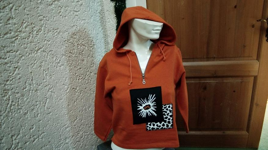 Sweatshirt m. Kapuze, Gr. 128, orange, NEU,