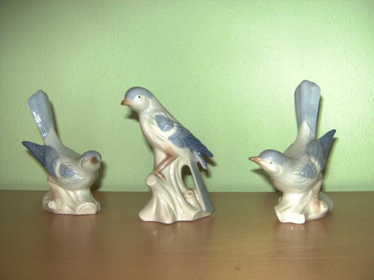 Porzellanvögel, 3 Stck, 12-13 cm hoch - Bild 1