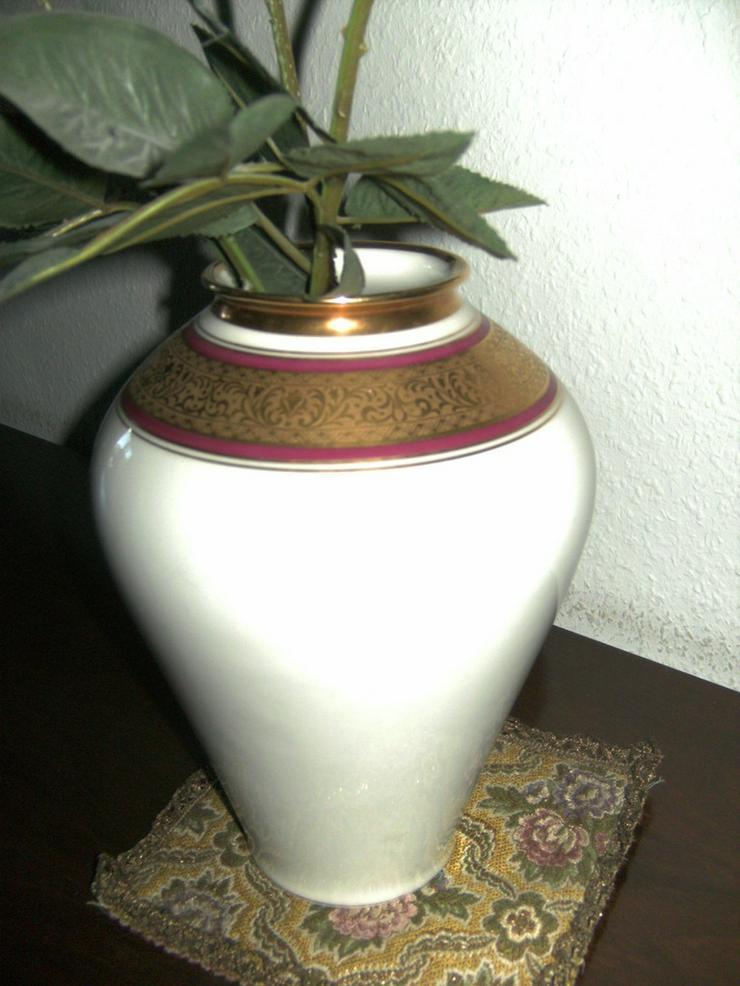 Bild 2: Zierteller/Schale Lindner Ätzgold, und Vase
