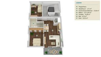 LANGSUR: 3 Zimmer Etagenwohnung 65 m² - nach KfW 55 Standard mit Balkon in ruhiger Lage!