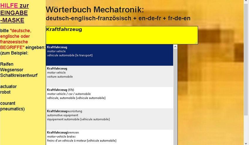 Sprachensoftware: franzoesische Kfz-Begriffe