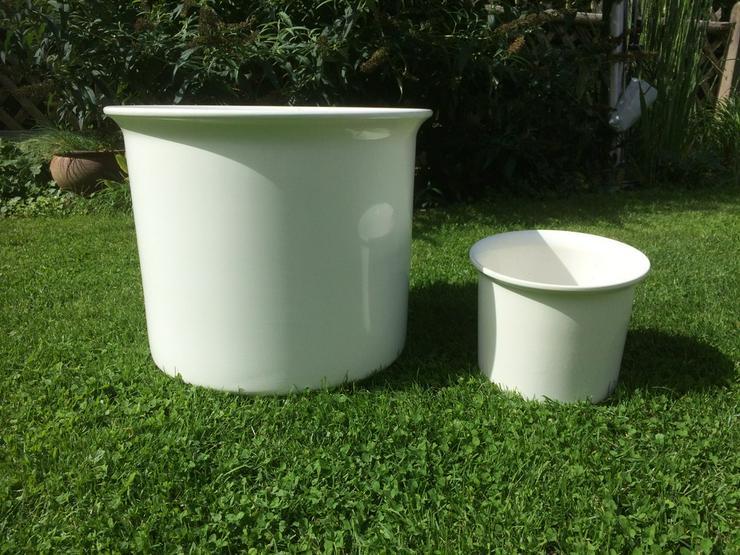 Blumenübertöpfe, Keramik, weiß