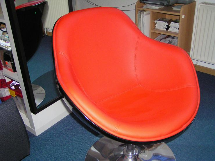 Loungesessel Schwarz-Rot Retro Design Chrom