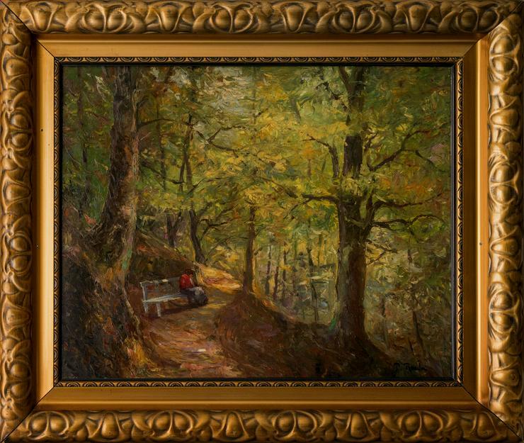 PAUL ROEDER (1897), Lesende Frau auf Waldbank!!
