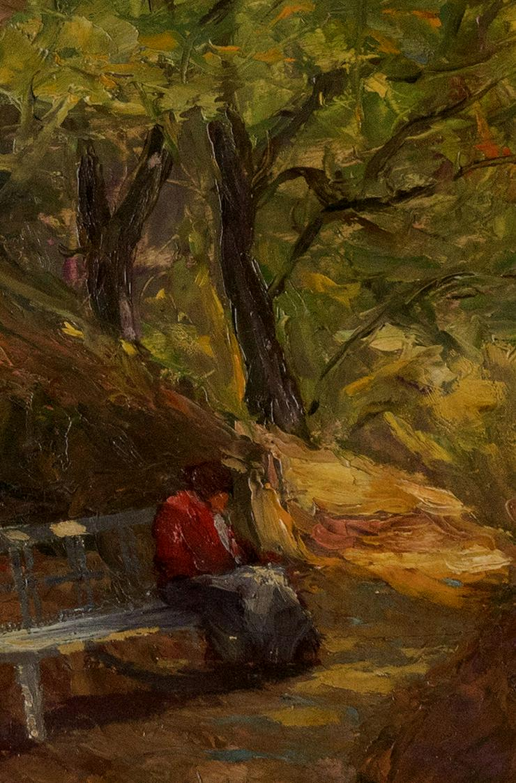 Bild 2: PAUL ROEDER (1897), Lesende Frau auf Waldbank!!