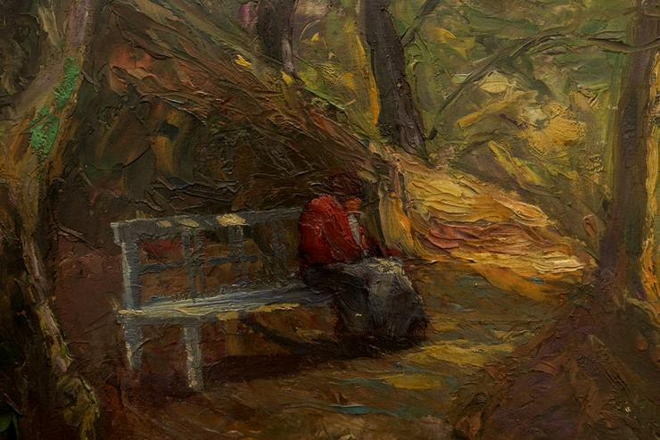 Bild 3: PAUL ROEDER (1897), Lesende Frau auf Waldbank!!