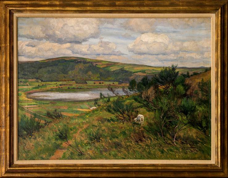 Gemälde WILHELM FRITZEL (1870), Ziegen am Rhein