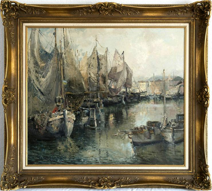 Gemälde LUDWIG GSCHOSMANN, Boote in La Spezia!