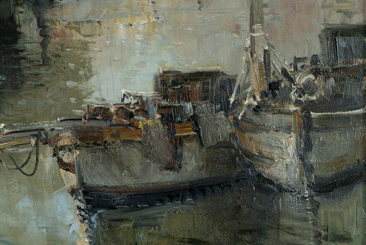 Bild 3: Gemälde LUDWIG GSCHOSMANN, Boote in La Spezia!