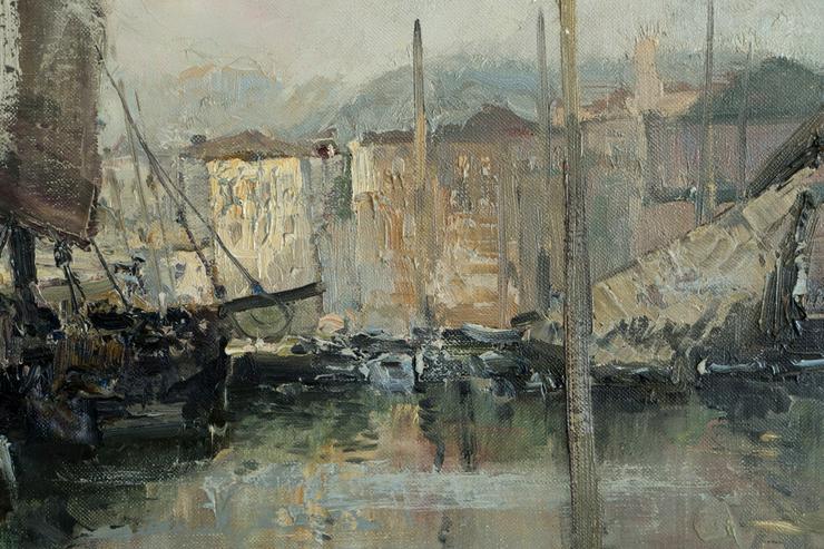 Bild 4: Gemälde LUDWIG GSCHOSMANN, Boote in La Spezia!