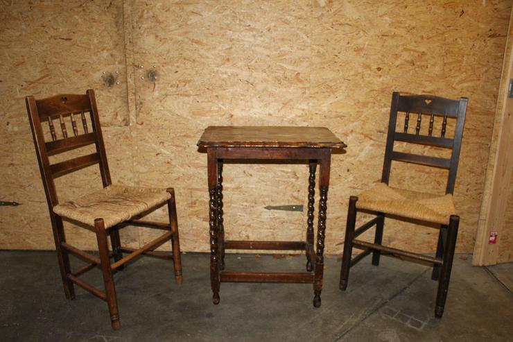 Kleinmöbel-Garnitur, 2-teilig, dunkles Holz - Bild 1