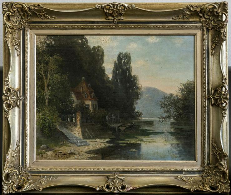 Gemälde GUSTAV THAMM (1859), Pavillon a.d. Elbe