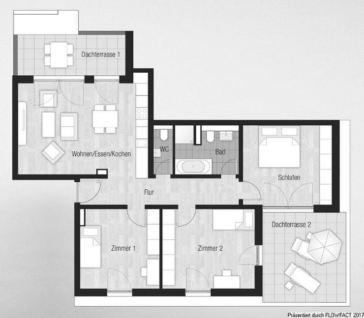 Bild 3: Sang ONE - Genießen Sie die Sonne auf Ihren ca. 18 m² und 10 m² großen Dachterrassen i...