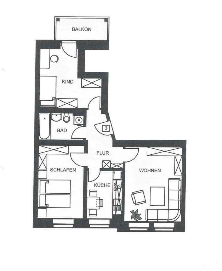 Bild 4: Chemnitz - Lutherviertel gut aufgeteilte 3 Zimmerwohnung in guter Lage zu vermieten