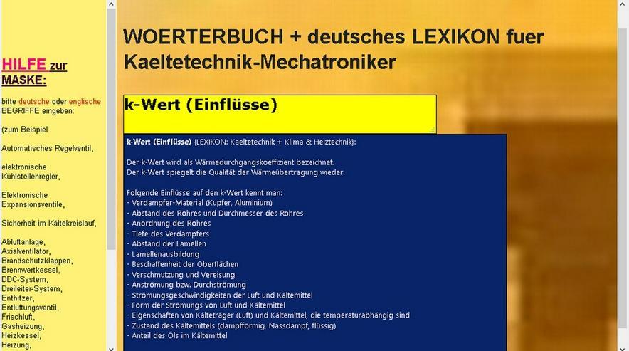 Kaeltetechnik: Glossar + Woerterbuch