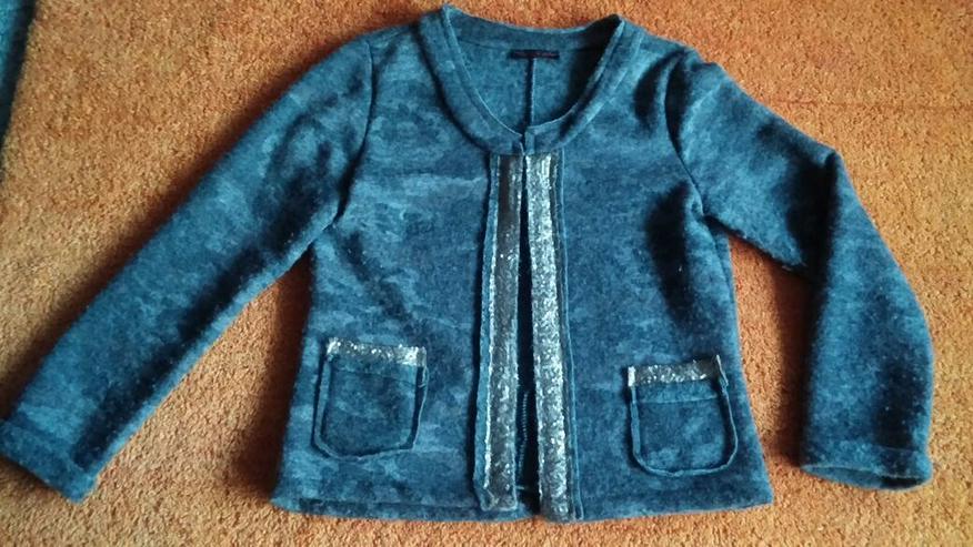Damen Jacke strick Wollmix Pailletten Gr.XL