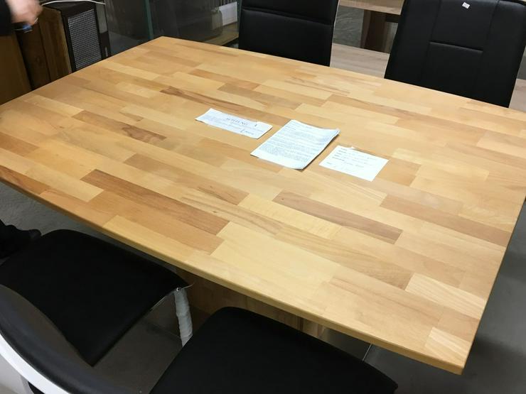 Bild 2: Designer Esstisch, massives Holz, Chromfuss