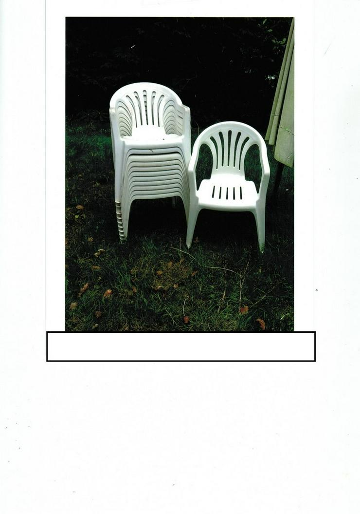 Stapelstühle weiß aus Kunststoff 12 Stück - Bild 1