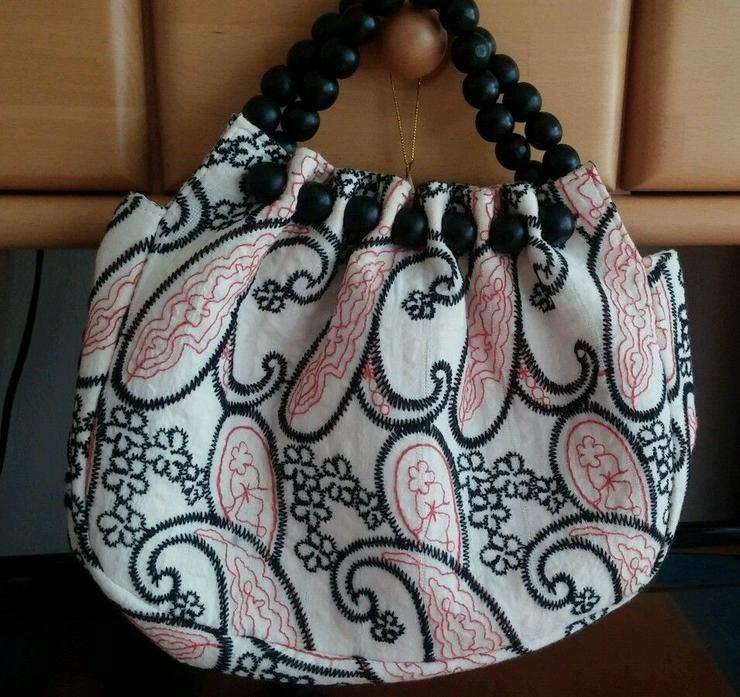 NEU Damen Handtasche aus Stoff bunt mit Holzper