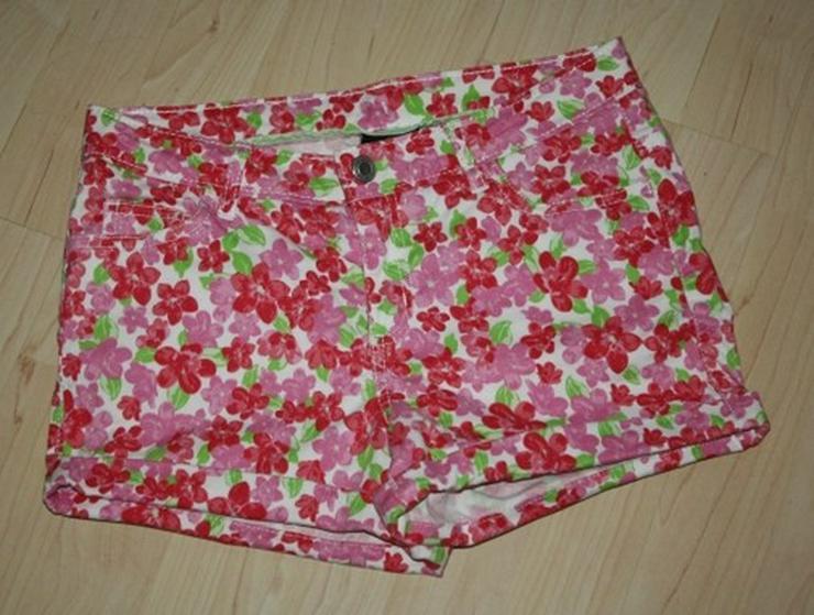 Mädchen Hose Kinder Shorts kurz Blumen pink 152 - Bild 1