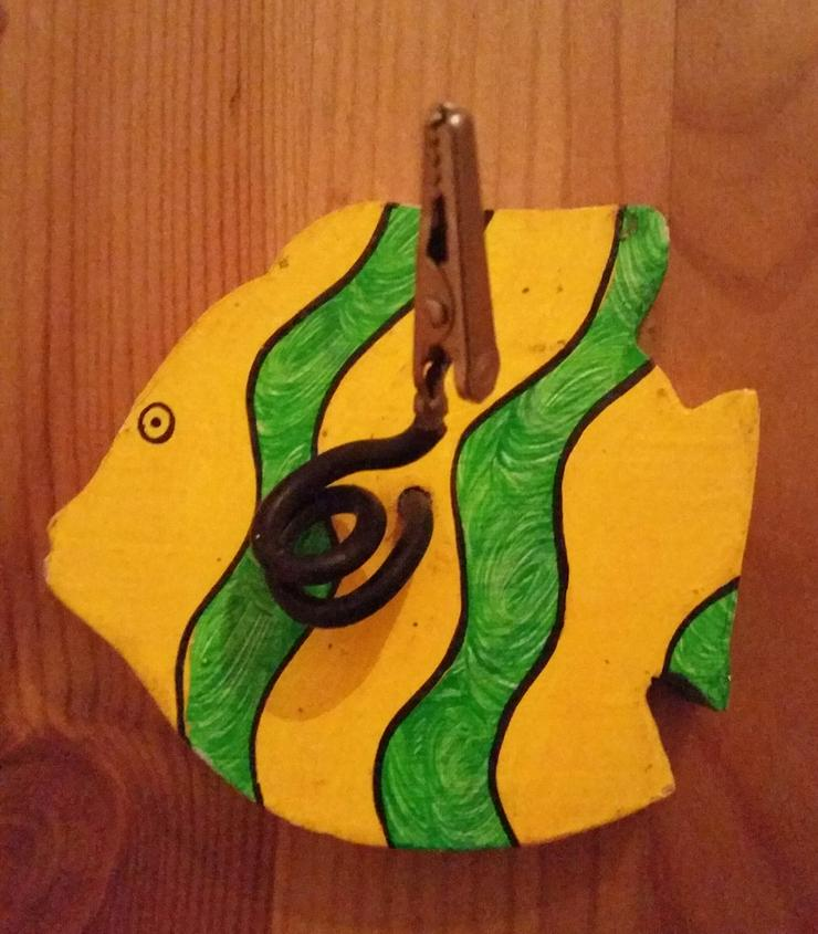 Fotohalter Zettelhalter aus Holz Motiv: Fisch - Figuren - Bild 1
