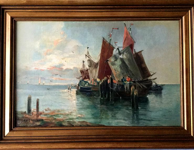 Gemälde v. WILKENS, Segelboote auf Reede 1932