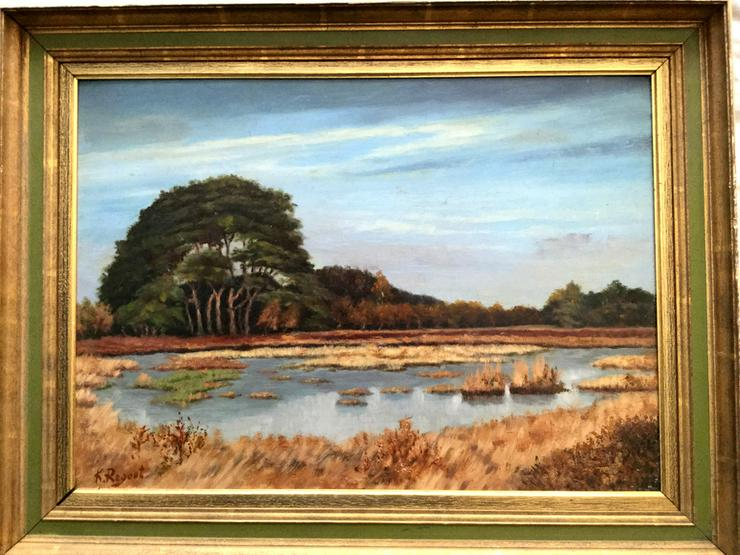 Gemälde v. K. REGOUT um 1920, Auenlandschaft