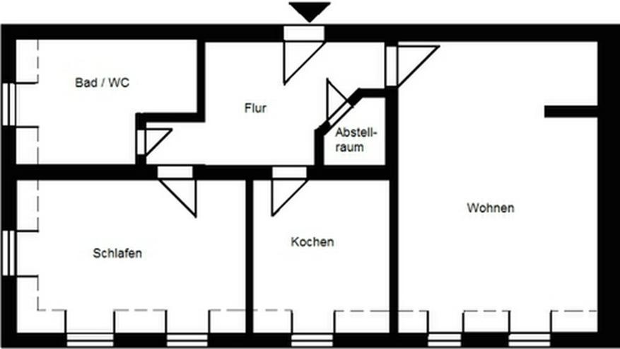Bild 3: 2-Raum-Wohnung mit Einbauküche am Markt in Pirna!