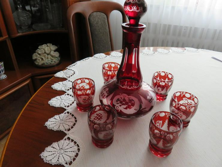 Karaffe 6 Gläser rotes Bleikristall Böhmen