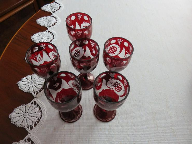 6Gläser rotes Bleikristall handgeschliffen