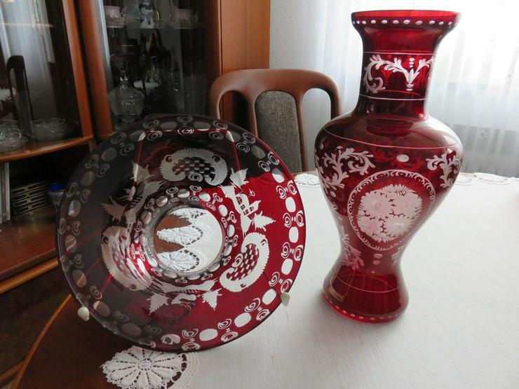 Schüssel und Vase rotes Bleikristall Böhmen - Schalen & Schüsseln - Bild 1