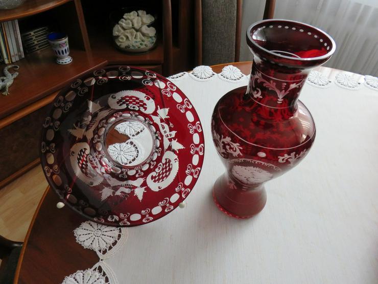 Bild 2: Schüssel und Vase rotes Bleikristall Böhmen