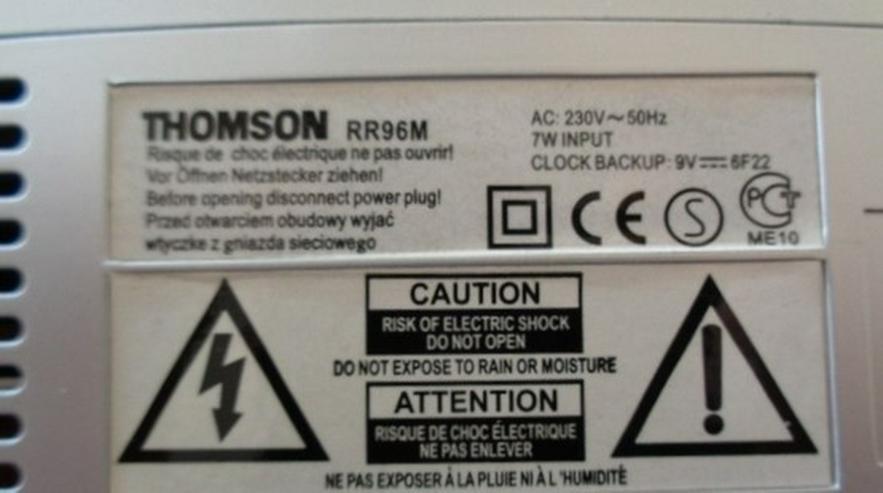Bild 4: Bedienungsanleitung: THOMSON RR96M Radiowecker