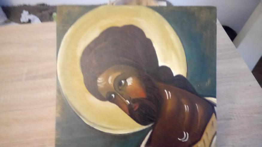 Kopf Christi, handgemalt, auf schlichtem Holz
