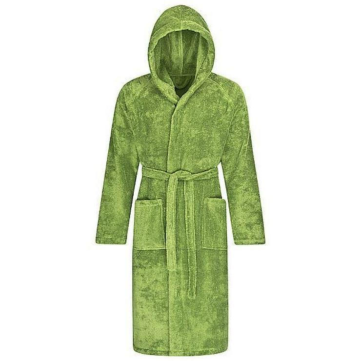 Wellness Bademantel Damen mit Kapuze grün